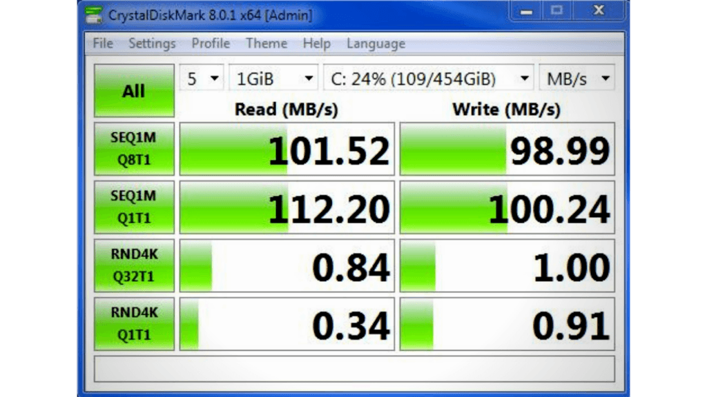 Using Crystal Disk Mark to check SSD health