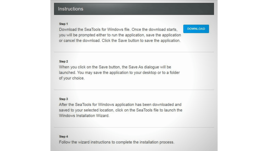 Instructions to download SeaTools for Windows
