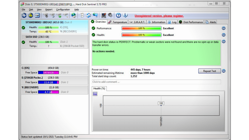 using hard disk sentinel 5.70 pro to check ssd health
