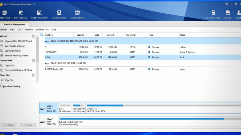 using MiniTool Partition Wizard